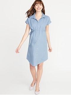 474b658b Maternity Chambray Tie-Belt Shirt Dress