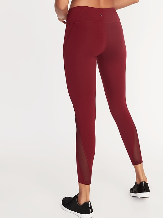 Mid-Rise Elevate 7/8-Length Mesh-Panel Compression Leggings for Women