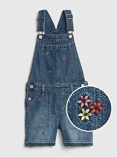 053660a9513 Floral Embroidered Denim Shortalls