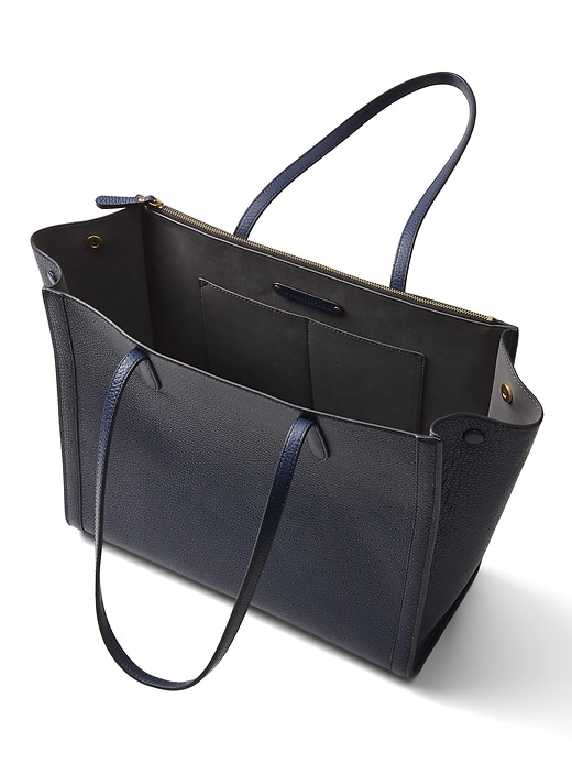 Italian Leather Large Tailored Tote Bag