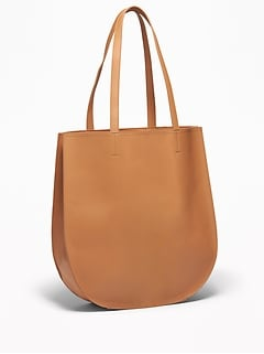 d448dbba3 Faux-Leather Half-Moon Tote for Women