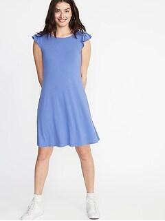 5653630fb30 Flutter-Sleeve Jersey Swing Dress for Women