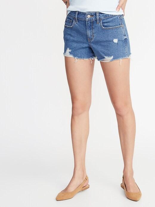 Mid-Rise Distressed Boyfriend Jean Cut-Off Shorts for Women - 3-inch inseam