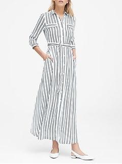 b9a41c95cb1 Petite Stripe Maxi Shirt Dress
