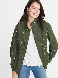 572d13a9cdcbc Embroidered Daisy-Print Utility Jacket for Women
