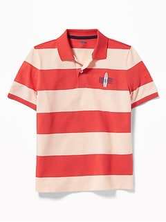dabad8d3e9c1 Built-In Flex Embroidered Graphic Striped Polo for Boys