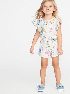 2173d3d2d Printed Slub-Knit Jersey Romper for Toddler Girls