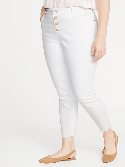 High-Waisted Secret-Slim Pockets Plus-Size Button-Fly Cropped Rockstar Jeans
