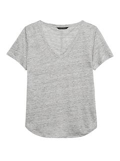 43073370c40456 Linen V-Neck T-Shirt