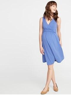 79e1a01710a Maternity Waist-Defined Cross-Front Jersey Dress