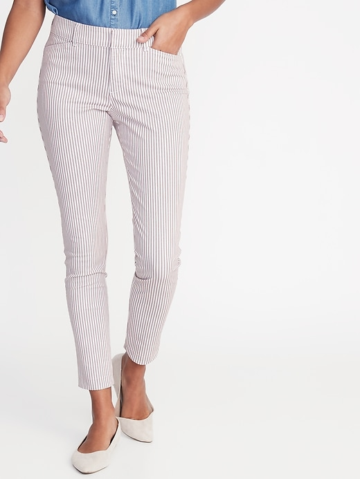 Mid-Rise Striped Pixie Chinos for Women