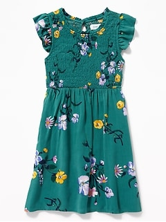 81ea414fd55e Smocked Floral-Print Fit   Flare Dress for Girls
