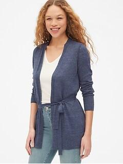 91c5be793a0 Longline Cardigan Sweater in Linen-Blend