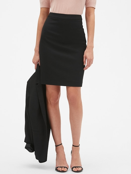 Washable Classic Black Pencil Skirt