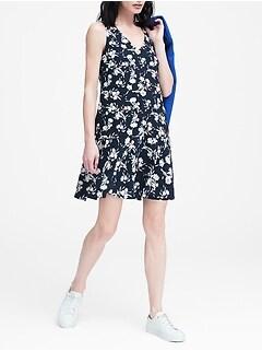 46828efdb649e3 Floral Drop-Waist Shift Dress