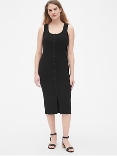 229b4095c8 Ribbed Button-Front Sweater Tank Midi Dress