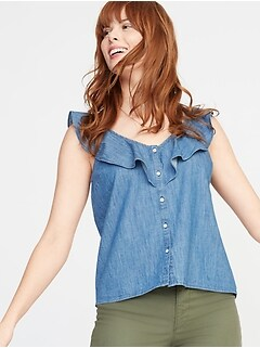 5bc07a43d8c Ruffle-Trim Button-Front Chambray Blouse for Women