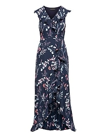 Floral Ruffle-Wrap Maxi Dress