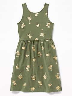 b2d06517612b Patterned Jersey Fit & Flare Tank Dress for Girls