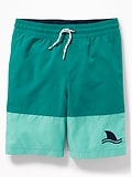 Color-Blocked Embroidered-Graphic Swim Trunks for Boys