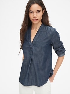 48c2eeef3d0f4 V-Neck Popover Tunic Shirt in TENCEL  153