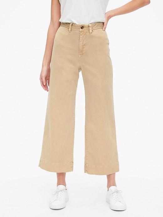 High Rise Wide-Leg Crop Khakis