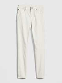 Mid Rise Stripe True Skinny Ankle Jeans