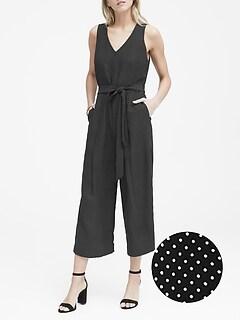 87f9539df43 Petite Polka Dot Cropped Jumpsuit