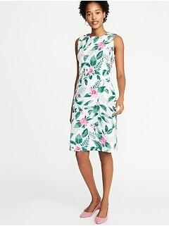 a6f551beb77c3d Printed Ponte-Knit Sheath Dress for Women
