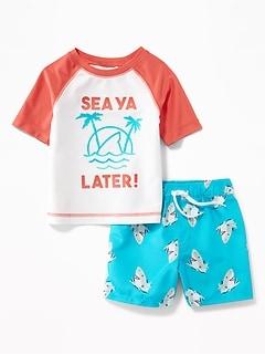 e37ab84c1e999 Graphic Rashguard & Printed Swim Trunks Set for Baby