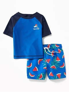 6f3da8f53825c Graphic Rashguard & Printed Swim Trunks Set for Baby