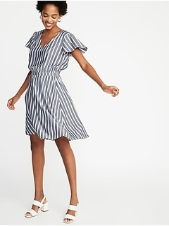 53c8664947 Waist-Defined Striped Dress for Women