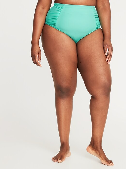 High-Waisted Secret-Slim Plus-Size Swim Bottoms