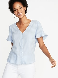9e044d45ab0 Ruffle-Sleeve Striped Top for Women