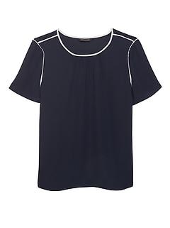 c52d12de short sleeve blouses. Piped Crew-Neck Blouse