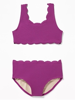 9020f9118e Textured Scalloped-Edge Swim Set for Girls