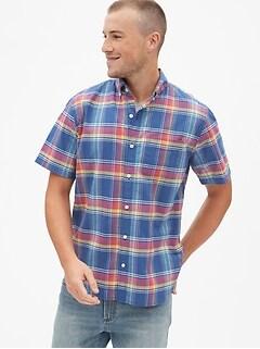42431d4217cb Slub Cotton Plaid Short Sleeve Shirt