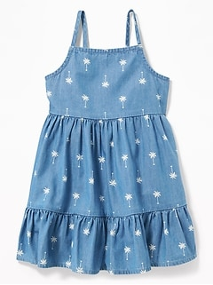 bc8c8cdab Palm-Print Tiered Cami Chambray Dress for Baby