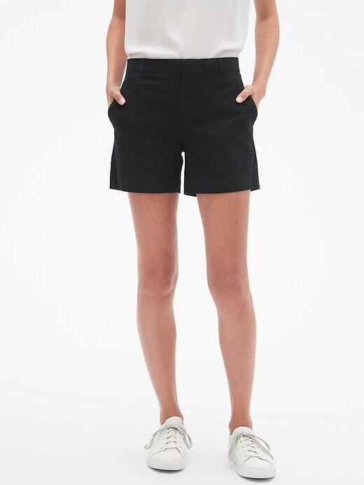 Petite Pique Tailored Shorts - 5 inch inseam
