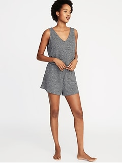903fcb3f988 Waist-Defined French-Terry Romper for Women
