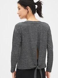 GapFit Tie-Back Sweatshirt in Brushed Tech Jersey
