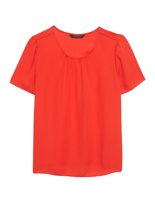 Piped Crew-Neck Blouse