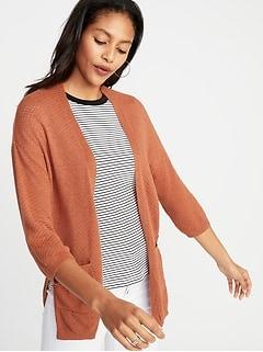 b4754e7259b Textured Open-Front Sweater for Women