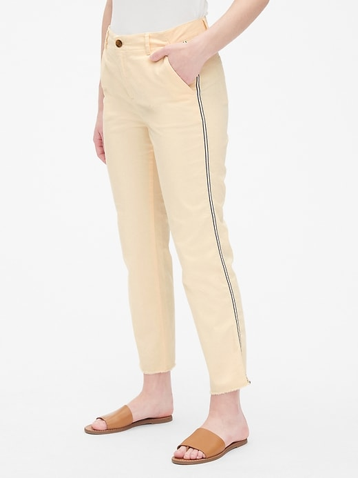Girlfriend Twill Stripe Khakis with Raw Hem