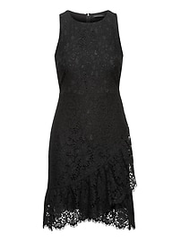 Petite Lace Ruffle Wrap Racerback Dress
