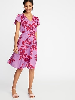 41f27200a61 Waist-Defined V-Neck Dress for Women
