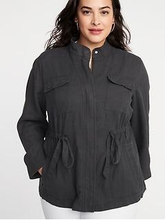 a7937cb7ce Plus-Size Linen-Blend Utility Jacket