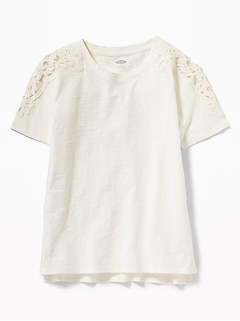 770fa6111d22d Relaxed Slub-Knit Lace-Shoulder Tee for Girls