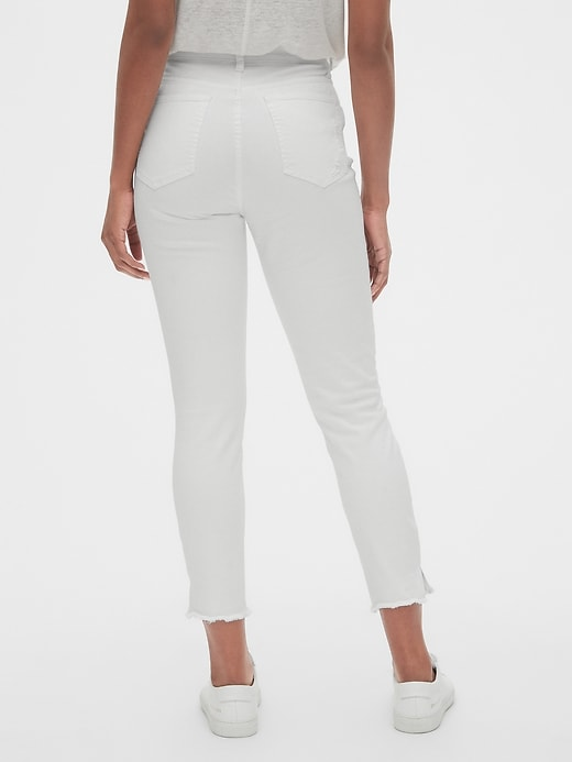 High Rise True Skinny Ankle Jeans with Distressed Detail