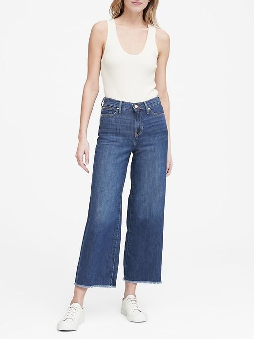 Petite High-Rise Wide-Leg Cropped Jean